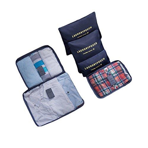 Travel Storage Taschen,Lommer 6Pcs Wasserdichte Verpackung Cube Clothes Pouch Gepäck Organizer--Wassermelone rot Dunkelblau