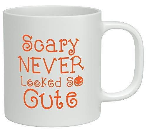 DHIHAS Strong Stability Durable Kaffeebecher Funny Coffee Mug - Scary Never Looked So Cute Halloween Orange Coffee Mugs Novelty White Ceramic Coffee Cup,Christmas Mugs,Mugs for Mom,for Dad,Xmas GIF