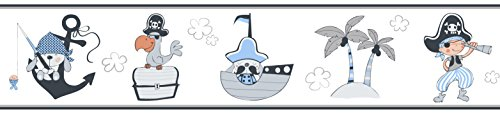 Rasch Textil Papierborte Bordüre selbstklebend - Bimbaloo 2- 330488 weiß blau grau Piraten