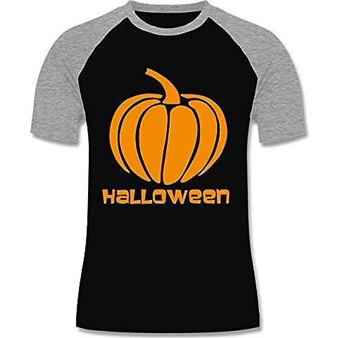 Halloween - Kürbis - XL - Schwarz/Grau meliert - L140 - zweifarbiges Baseballshirt für Männer (Vampire Baseball Kostüm)