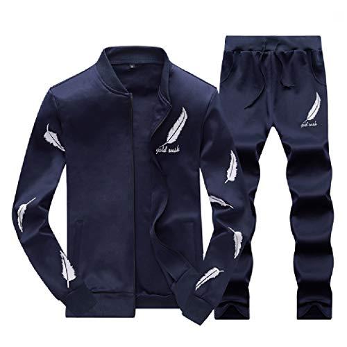 CuteRose Men's Printed Baggy Full-Zip Tracksuit Casual Tracksuit Set Dark Blue S Fleece Full Zip Suit