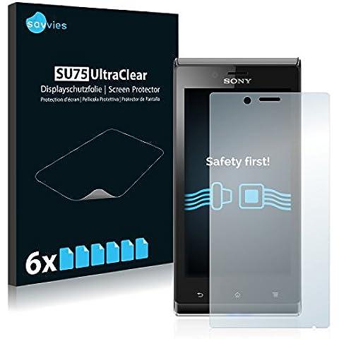 Savvies SU75 UltraClear, Sony Xperia J ST26i Borrar Sony Xperia J ST26i 6pieza(s) - Protector de pantalla (Sony Xperia J ST26i, Borrar, Sony Xperia J ST26i, Teléfono móvil/smartphone, Sony, Transparente, Alemania)