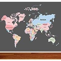 World Map Wall Sticker Living Room Bedroom Children