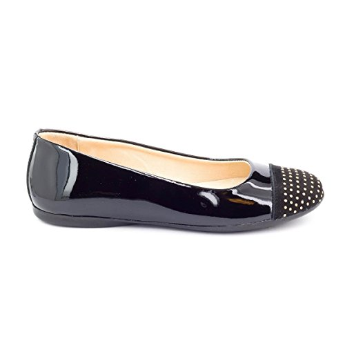 Boni Classic Shoes, Mädchen Ballerinas Schwarzes Lackleder