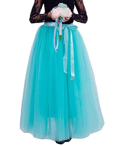 Comall Donna Balletti Danza Tutu Gonna Sottogonna in 7 Strati Tulle Principessa gonna di Petticoat 100cm menta verde