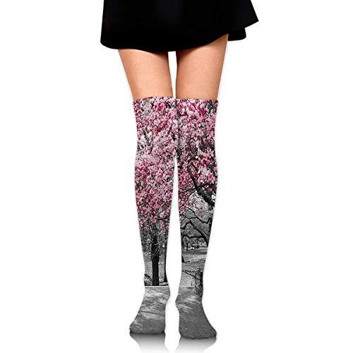 Blossoms in Central Park Cherry Bloom Trees Compression Socks Foot Long Strumpfs Knee High Socks for Men Women Supports Sport Running Cycling Football Slim Leg Travel Medical Nursing