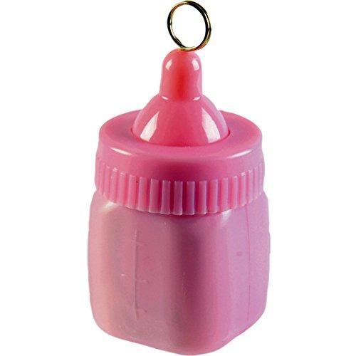 NET TOYS Babyflasche Ballongewicht Geburt Ballonbeschwerer 170 g rosa Luftballon Gewicht Pullerparty