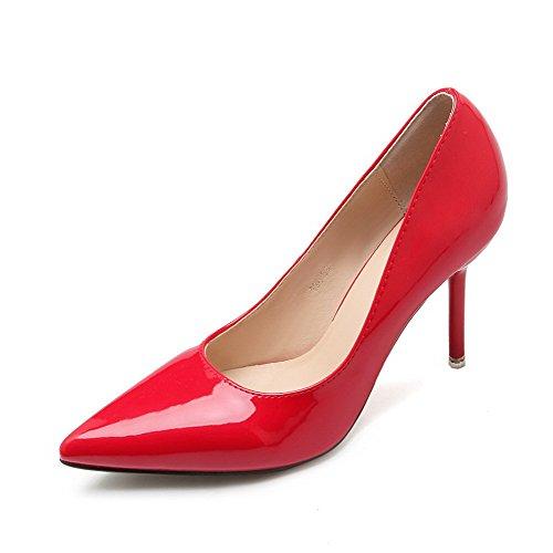AalarDom Femme Stylet Pointu Tire Matière Souple Chaussures Légeres Rouge-Microfibre