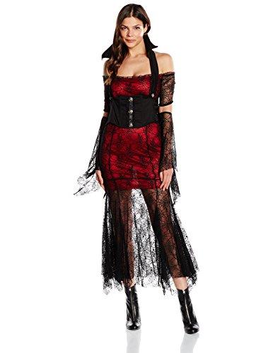Zoelibat 47026041.366M Damen Gothic Tüll Kleid mit teilbaren Ärmeln und Bustier 2teilig, schwarz /rot (Bustier Halloween Rotes)