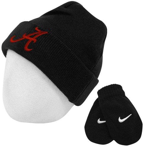 Nike Alabama Crimson Tide Toddler Logo Knit Cap Beanie and Mitten Set, 2T-4T, Black - Crimson Knit Beanie
