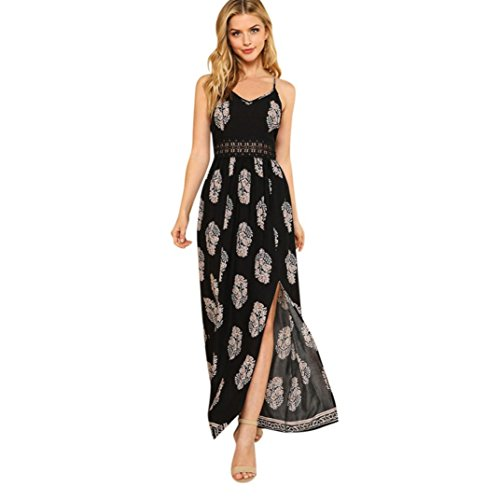 DAYSEVENTH DRESS Women Summer Feather Boho Hollow Beach Sundress High Slit Maxi Slip Dress Sale(Black, Large(UK 8))