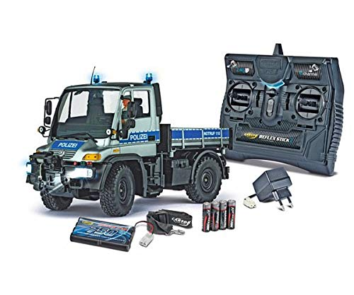 Carson 500907290 1:12 MB Unimog U300 Polizei 2.4G, Silber/Blau