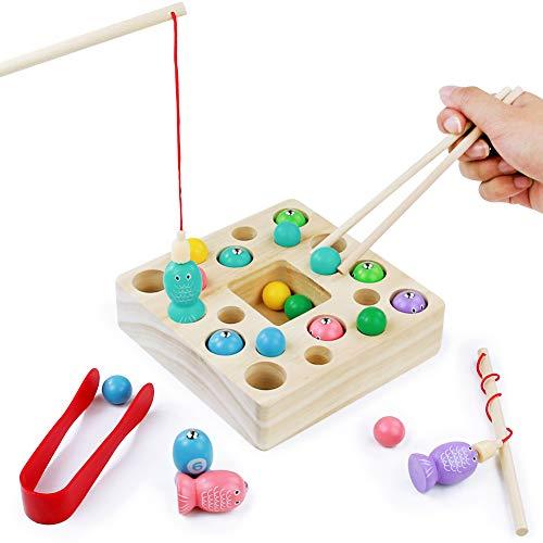 3 in 1 Angelspiel Holz Kinder Fische Angeln Set Magnetische Holzfische Montessori Pädagogisches Spielzeug Spiel Magnetspielzeug mit Angelrute Toddler Holzspielzeug Fischspiel für Jungen Mädchen