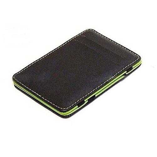 Faux Leder ID-Kartenhalter Kreditkartenetui Magie Geldklammer Geldscheinklammer Schlank Brieftasche Herren Portemonnaie Geldboerse (Grün) (Id-geldbörse)