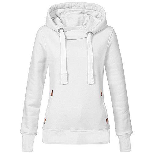 VEMOW Herbst Hoodies Damen Plus Size Langarm Casual Daily Sport Outdoors Freizeit Solid Damen Sweatshirt Kapuzenpullover Tops Shirt Winter Frühling(Weiß, 40 DE/L CN)