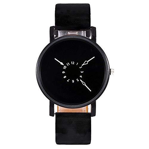 VECOLE Damen Armbanduhr Mode Einfach Lässig Einzigartiges Design Quarz Analoganzeige Uhr Lederband Präzises Uhrwerk 12 Stunden Zifferblatt(Schwarz-1)