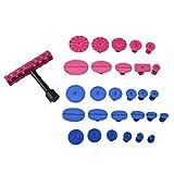 Qiilu 29pcs Kit de débosselage, PDR Paintless Débosselage Réparation / Outils de réparation carrosserie avec 1 T Bar + 18 Ventouse bleu + 10 Ventouse rouge pour voiture
