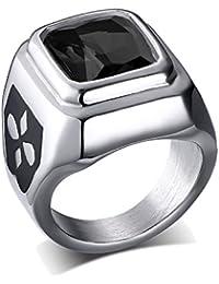 UM Joyería Clásico Mujer Hombres Cristal Acero inoxidable anillos Cuadrado Sello Banda Negro Plata