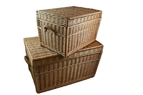 Zwei Korbtruhen Weidenkorb Set 80cm und 60cm, Wicker Chests, Trunk Set, Korb mit Deckel