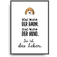 Kunstdruck BAUM - HUND Poster Bild ungerahmt DIN A4 Geschenk