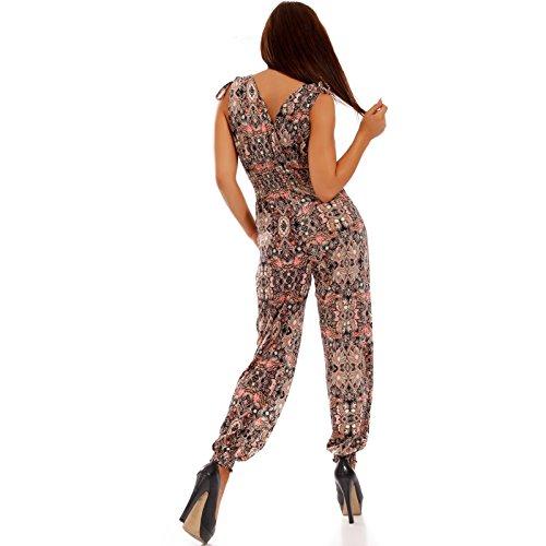 b22023a85f84 Damen Overall Jumpsuit Harem Style VAusschnitt Rosa