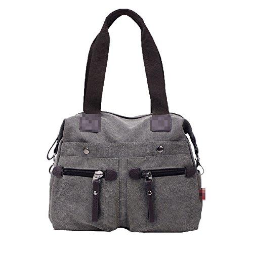 Damen Elegante Große Canvas Top-Griff Handtasche Schulter Tote Bag Satchel Multicolor,Gray-L (Canvas Griff Tote)