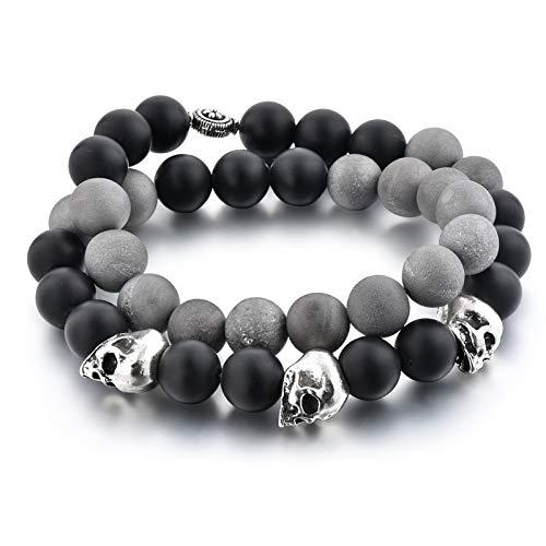DARgen Grey and Black Skull | Pulsera Calavera | Piedra Onix y Agata Hombres | Piedras Gran tamaño 10 mm | | Hecha a Mano | Tamaño 40 cm Doble Pulsera |