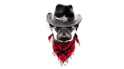 Gran pegatina transfer parche termoadhesivo perro sherif para cazadoras, sudaderas, camisetas, bolsos...25 x 17 cm. de OPEN BUY
