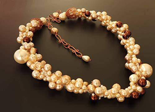 Brautschmuck Modeschmuck Perlenkette Weiss Collier 50cm Statement Schmuck Kette Vintage Kurz Beaded Necklace Halskette Creme Glaskette mit Böhmischen Glaswachsperlen Handmade Unikat