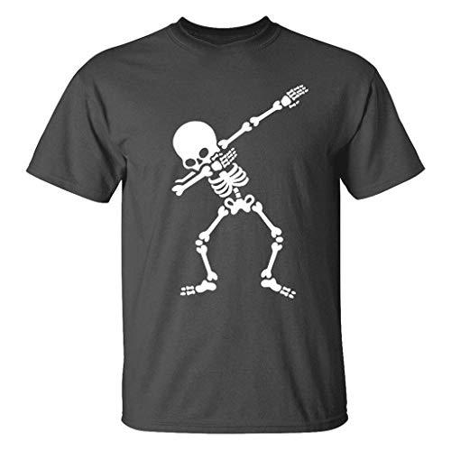 Yvelands Herren T-Shirt Männer Neuer Sommer-beiläufiger Schädel-Druck-elastische Kurzarm übersteigt Bluse Weste Tops(Gray,S)