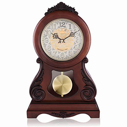 YWYU Pendeluhr Antike arabische Ziffern einseitig Runde Desktop Einfache Wecker Stummschaltung Uhr...
