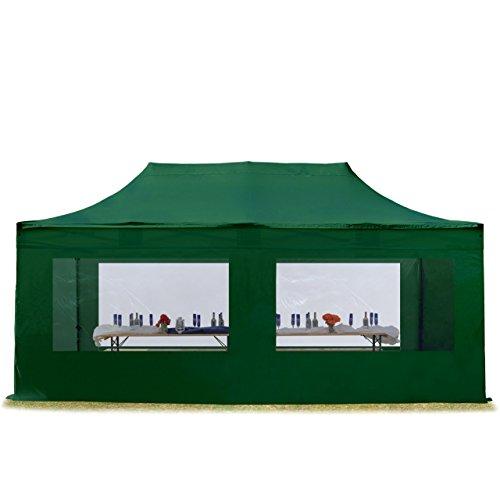 TOOLPORT Faltzelt Professional 3x6 m mit Panoramafenster Faltpavillon ALU Pavillon Partyzelt in dunkelgrün