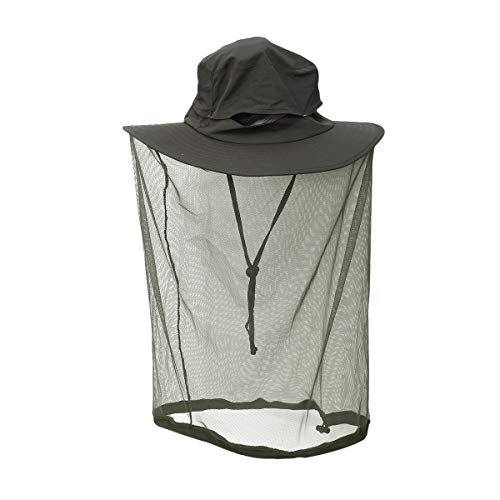 Yardwe Outdoor Sonnenhut mit Mesh Hals Gesichtsmaske Angeln Hut Anti Moskito Hut Bee Bug Fly Maske Cap Hut Angelausrüstung (grün) -