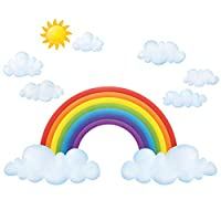 Decowall Rainbow and Clouds Kids Wall Stickers Wall Decals (1713 / 1713P1702 / 1702 / 1713L / 8030)
