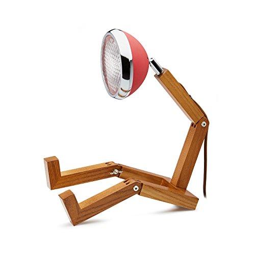 Mr. wattson, la lampada da tavolo in legno di frassino flessibile in rosso–in alluminio con led lampadina
