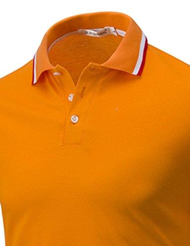 LIANIHK Polo Herren Poloshirt Einfarbig kurzarm M - 3XL Orange