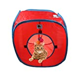 Flexible Pop Out Cat Kitty Play Cube Extensible Tunnel de Jeu pour Chat Jouets, avec 4 Boules, Rouge