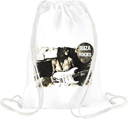 Ibiza Rocks Sexy Girl With Guitar Drawstring bag -