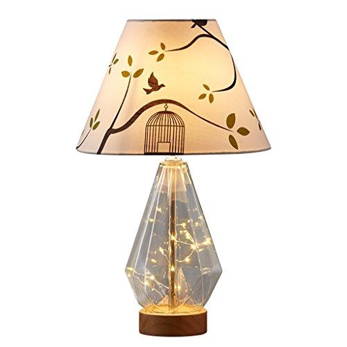 LILY Moderne Stoffdruck Lampenschirm Tischlampe, Diamond Glass Lamp Körper Schlafzimmer Lampe, drei Arten von Licht Control Mode Tischlampe, Holzsockel Nachttischlampe (Größe : Switch button) (Art Glass Vintage Tisch Lampe)