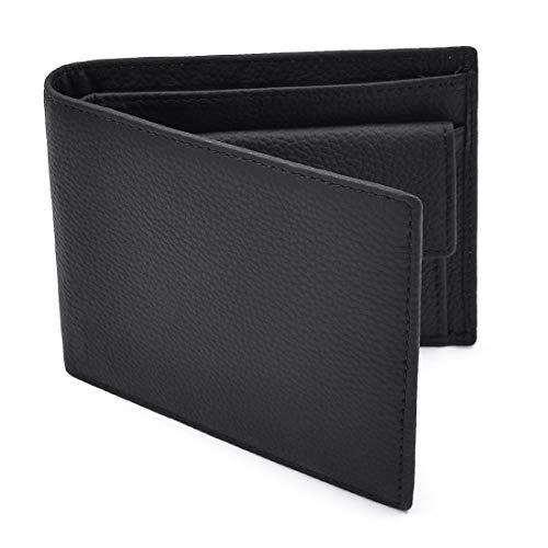 NEWHEY PortafoglioUomo Vera Pelle RFID Protezione Wallet 8 Tasche Per La Carte con Portamonete Nero