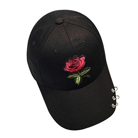 Vovotrade® ❃❃ Femmes Hommes Casquette Unisexe Snapback Hip Hop Flat Hat Rose Motif et Anneau (Noir)