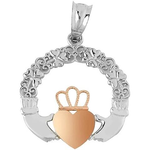Piccoli Tesori - Collanae Pendente - - 14 ct Oro 585/1000 Claddagh Bianco Giallo Rosa - Rosa Claddagh Pendente