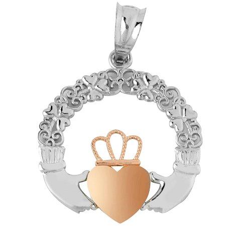 Piccoli Tesori - Collanae Pendente - 10 ct 471/1000 Oro Claddagh Bianco Giallo Rosa Collanae Pendente (viene con una Catena da 45 cm) - Rosa Claddagh Pendente