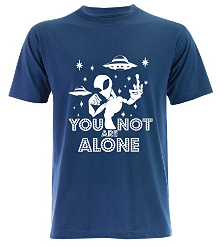 PALLAS Unisex's Alien UFO You Not Alone T-Shirt Blue