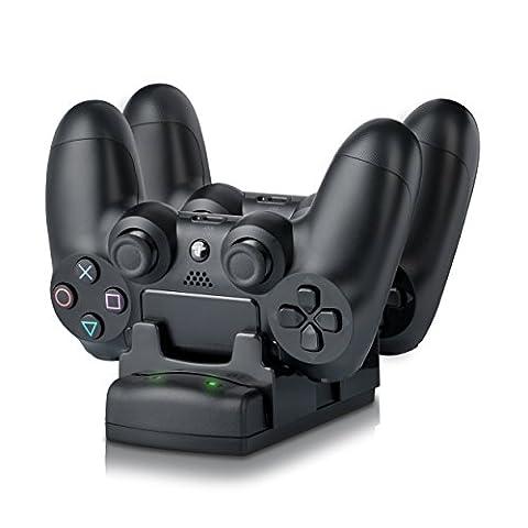 CSL - Station de recharge rapide pour manettes de jeu 3 en 1 pour PS3/PS3 Move/PS4 | Chargeur pour deux contrôleurs / Docking station / Station de recharge double avec bloc d'alimentation