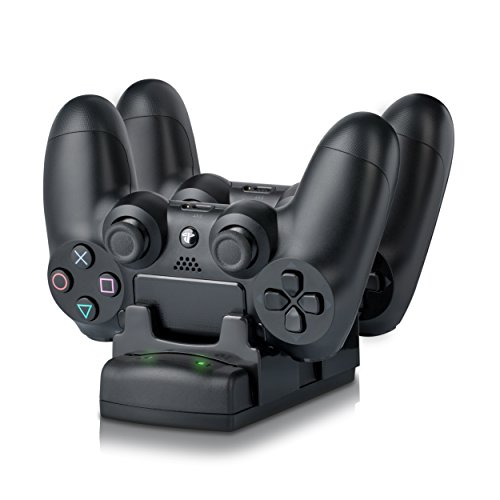 Csl - stazione di ricarica per gamepad de sony playstation ps3 / ps3 move / ps4 | dual controller charger rapida / caricatore / docking-station / dual charging station con alimentatore