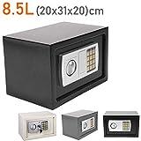 Geldtresor, 8,5 l, massiver Stahl, digitaler Geheimcode und Überschreibungsschlüssel, Geldkassette, für Zuhause, Büro, Hotel, schwarz
