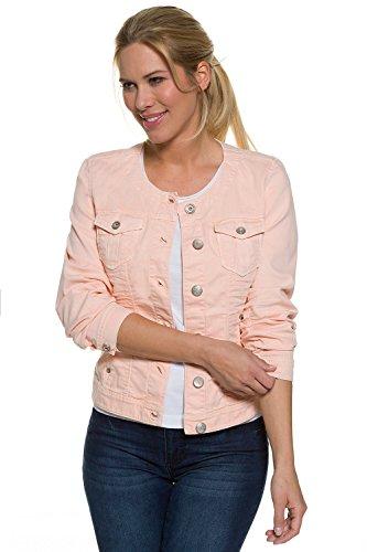 gina-laura-damen-jeansjacke-tailliert-ohne-kragen-mit-rundhalsausschnitt-knopfleiste-brusttaschen-ro