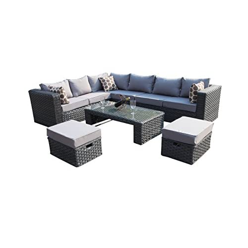 41hMlDdVP9L. SS500  - YAKOE 50020 Papaver Conservatory Modular 9 Seater Rattan Corner Garden Sofa Furniture Set - Grey