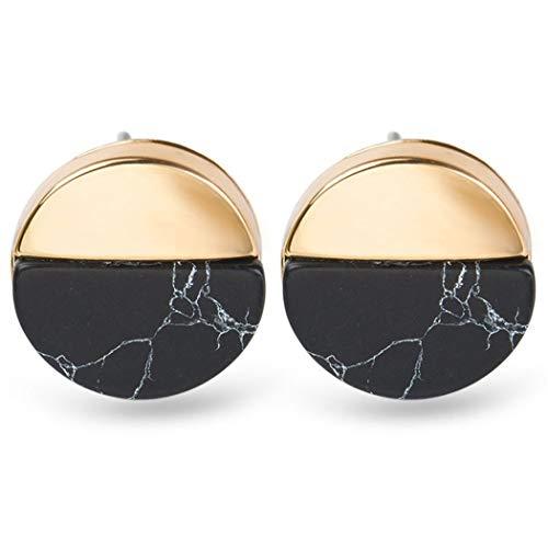 Eleusine Retro Runde Dreieck Quadratische Halbe Kiefer Stein Marmor Einfache Geometrische Ohrringe (Rund Schwarz) -